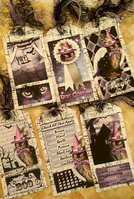 Magic Halloween~6 Gift Hang Tags~Scrapbooking~Card Craft Making Embellishments - Make Halloween Gift Tags