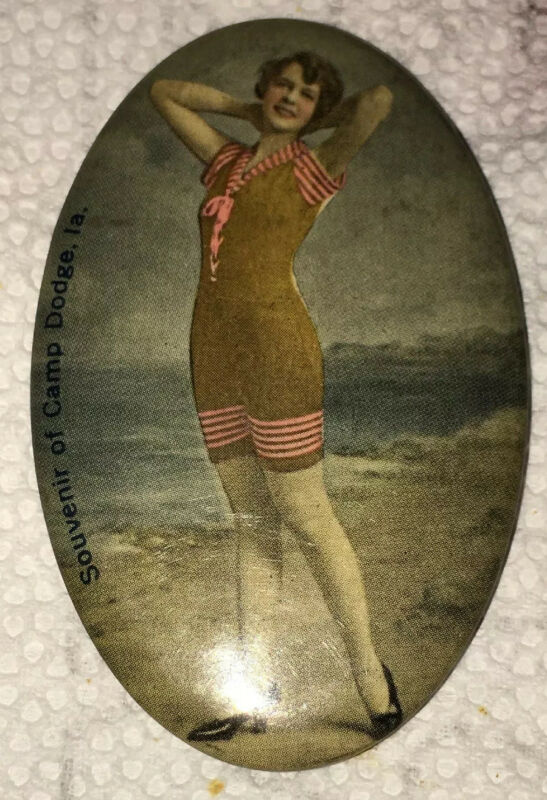 Bathing Beauty Souvenir Camp Dodge Ia Celluloid Lady Pocket Mirror Vintage