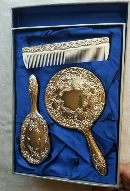 Vintage 3 Piece Towle Silver  Dresser Set Hand Mirror Brush Comb NOS MIB