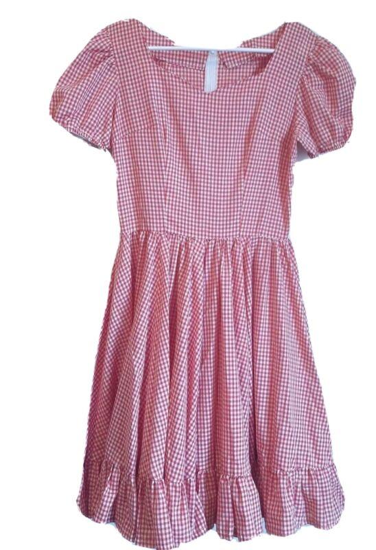Vintage Handmade Square Dance Dress Red White Check Peasant