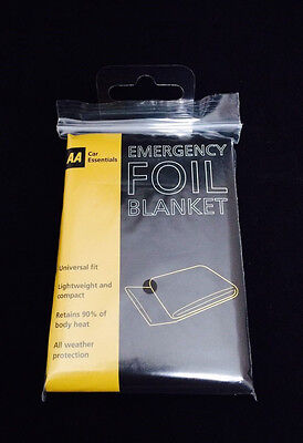 AA Car Essentials Emergency Foil Blanket Retains 90% Body Heat - All Weather