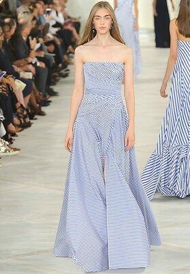 RALPH LAUREN COLLECTION Blue White Stripe Bustier Dress Gown 4