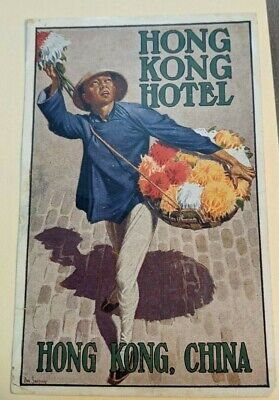 Hotel Luggage Label Hong Kong Hotel Antique org. litho 1920s Flowers Dan Sweeney