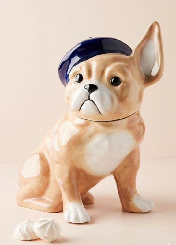 ANTHROPOLOGIE Playful Pup FRENCH BULLDOG Frenchie CERAMIC COOKIE JAR NEW!