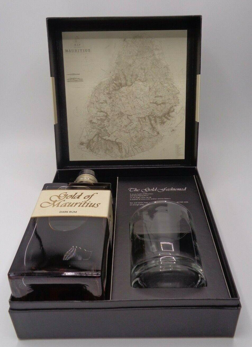 GOLD OF MAURITIUS DARK RUM, GESCHENKSET mit original Glas, 700ml., 40% Vol.