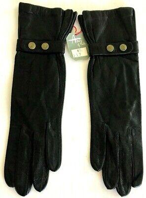 Vintage NEW ARIS of PARIS Kid GOAT SKIN Black LEATHER Gloves Size 6.5 France NWT - Childrens Black Gloves