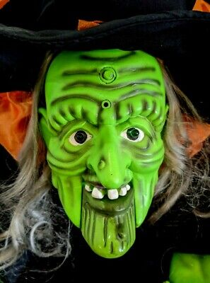 Vtg Gemmy Motion Activated Animated Moving Door Greeter Witch Halloween Decor