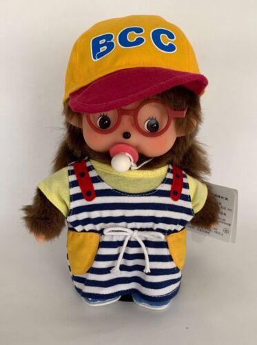 "SEKIGUCHI Monchhichi Plush Stuffed Doll Girl 9"" Red Glasses and BCC Hat"
