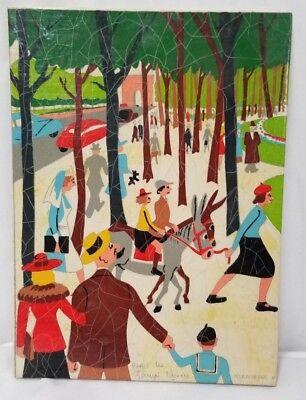 1940's Kermorver Art Painted Gouache/Paper People 8.5