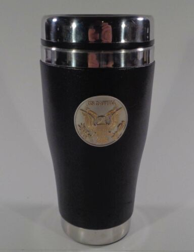 Vintage Souvenir US Capital Travel Mug Stainless Steel & Leather Wrapped Grip