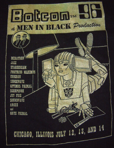 OFFICIAL BOTCON 96 Men In Black Productions Vintage T-Shirt XL 1996 Transformers
