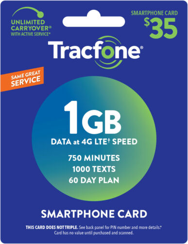 TracFone Smartphone Only Plan - 60 Days/750 Minutes/1000 Text/1GB Data