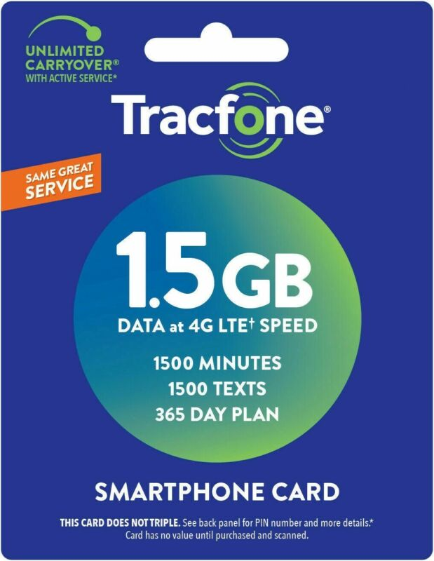 TracFone 365 Days + 1500 Minutes/Texts/Data Refill Smart Cell Phone Direct Load