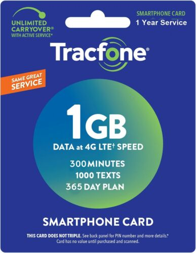 TracFone Refill Card 1 Year Prepaid 300 minutes / 1000 Text / 1000 Data