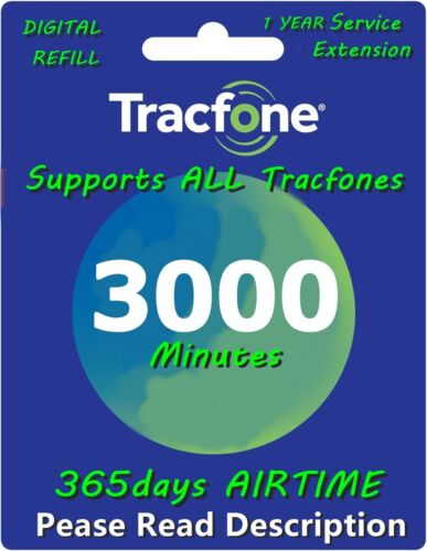 TracFone 1 Year 365 Days Service Card Prepaid Digital Refill + 3000 Minutes