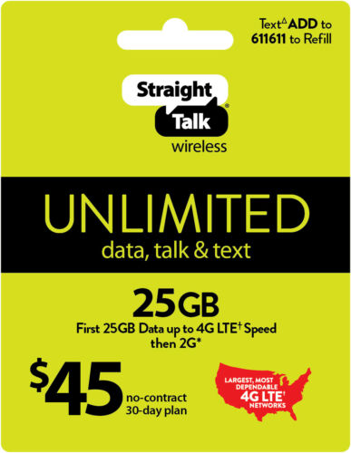 Straight Talk Rob Refill Card 30 Day $45 Prepaid Unlimited Service Plan Phone
