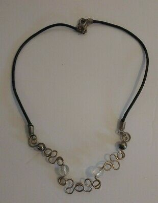 Vintage Necklace Steam Punk Beads Metal With Leather String Jewelry