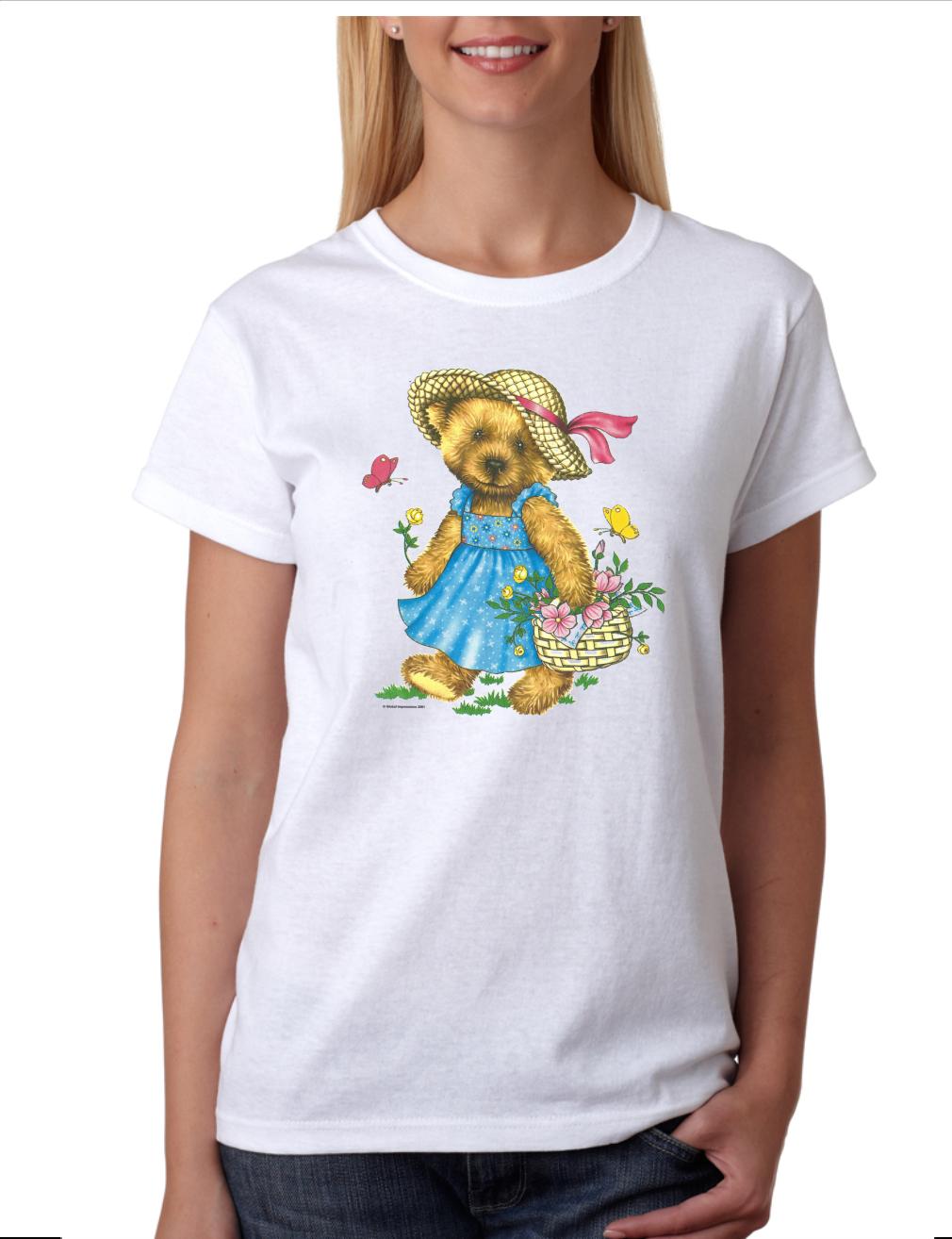 USA Made Bayside T-shirt Teddy Bear Girl Doll With Flower Fl