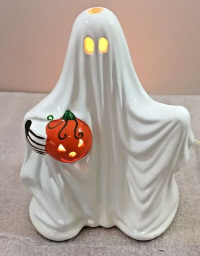 "Halloween GHOST holding Pumpkin  ceramic figurine 8.5""H candle holder by Russ"