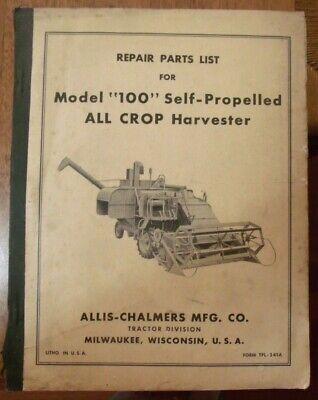 Allis Chalmers Model 100 All Crop Harvester Repair Parts List 1950s