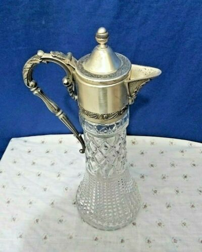 ANTIQUE SILVER CRYSTAL WINE CLARET JUG CARAFE DECANTER ​PITCHER