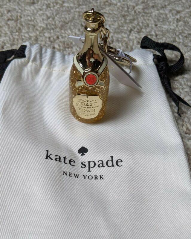 Kate Spade Yellow Gold Champagne Bottle Keychain Fob Ring Bag  Purse Charm New