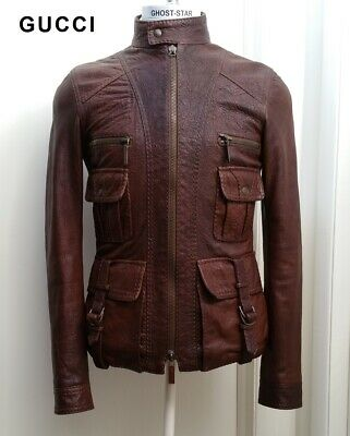 GUCCI leather jacket brown safari military bomber utility coat rare slim S 46 36 for sale  Shipping to India