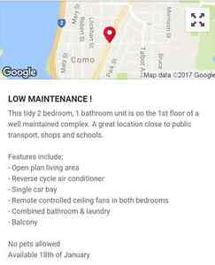 2 Bedroom Appartment Como Quiet Complex Como South Perth Area Preview