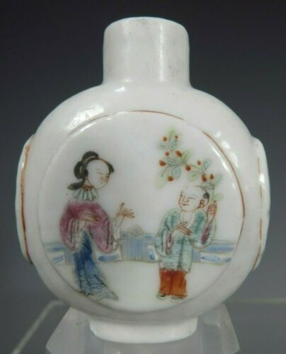 China Chinese Famille Rose Snuff Bottle w/ Figural & Floral Decoration ca. 1900