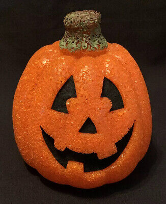 """JACK O LANTERN HALLOWEEN BLOW MOLD LIGHTED By Seasons Melted Plastic Popcorn 8"""""""
