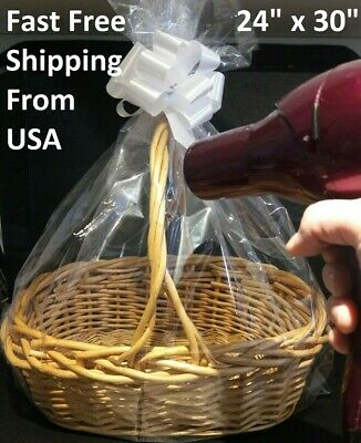 Large Baby Gift Bag (Clear LARGE Shrink Wrap BASKET BAG 24x30 w/ Pull Bow Gift Easter Wedding)