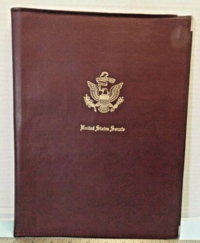 UNITED STATES SENATE Brown Simulated Leather Portfolio with GOLD LOGO