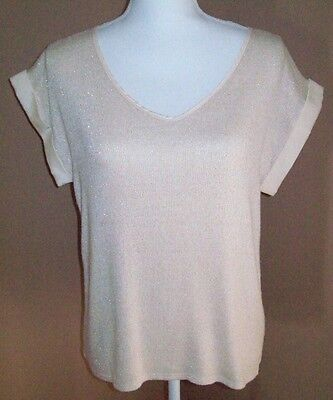 ONE CLOTHING ~  WOMEN'S SIZE M ~  BEIGE & GOLD SHIMMER BLOUSE ~ - Shimmer Clothes