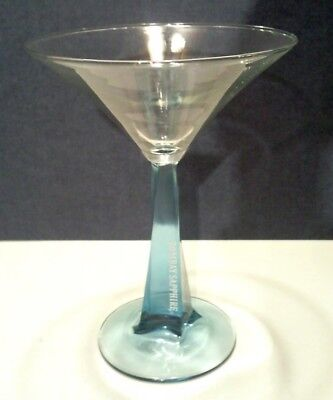 BOMBAY SAPPHIRE GIN MARTINI BLUE GLASS SQUARE TWIST STEM. 6.75""
