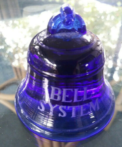Bell System Cobalt Blue Glass Paperweight - Advertising - Vintage