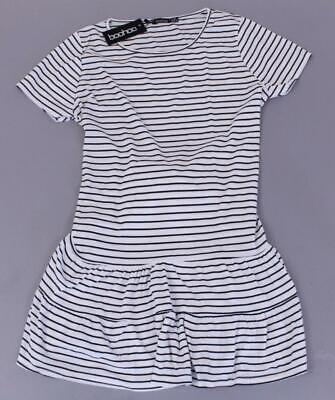 Boohoo Women's Plus Stripe Belted Tiered Smock Dress BF5 White Size US:14 UK:18