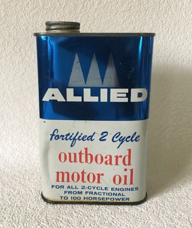 Vintage Oil Can ALLIED Outboard Motor 1 Quart CHICAGO ILL. Empty 2 Cycle RARE