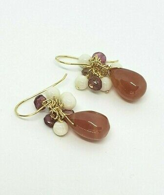 14k Yellow Gold Pink Tourmaline, Rhodochrosite and Coral Cluster Dangle -