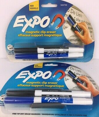 Expo Dry Erase Marker Set Magnetic Fine Tip Blue Black 2 Packs 4 Markers