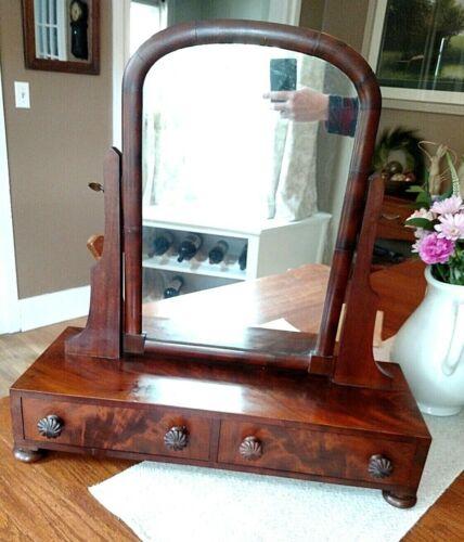 Antique 19th Century Regency Mahogany Shaving Mirror or Dressing Tilt Mirror