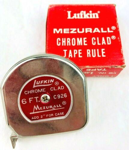 Vintage Lufkin Mezurall Tape Measure Chrome Clad C926 w/ Original Box  *H7
