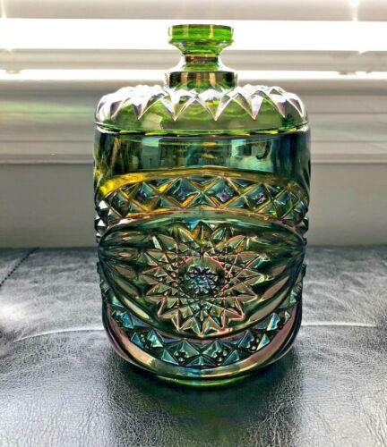 Vintage Imperial Green Carnival Glass Cookie/Biscuit Jar Roanoke Hobstar Design