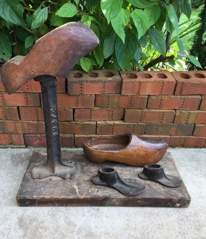 Vintage Cast Iron Shoe Making Repair Molds Stand & Forms Antique Cobbler Wooden