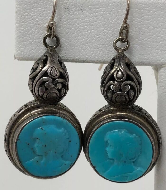 Vintage FIligree Elegant Sterling Silver Carved CAMEO Turquoise Dangly EARRINGS