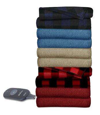 Sunbeam Fleece Electric Heated Warming Throw Blanket TB16