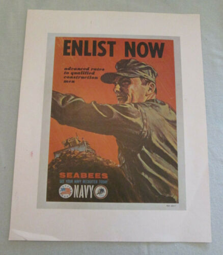 "Vintage Navy Recruiting Poster - ""Enlist Now"" - Vietnam Era"