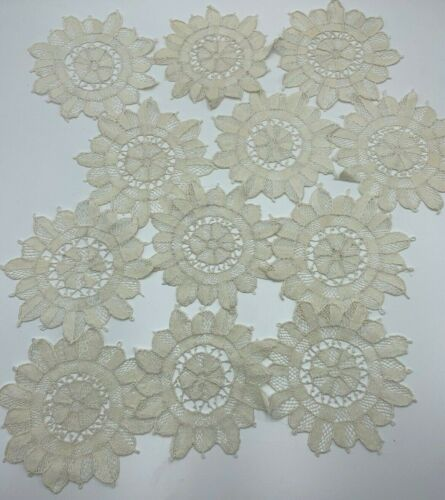 12 Vintage Needle Lace Coasters Doilies Estate Lot Off White