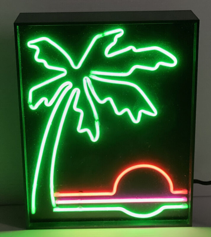 VINTAGE FANCY NEON PALM TREE SUNSET Nam Kwong Electric VERY RARE VERY COOL