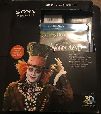 Sony 3D Glasses Deluxe Starter Kit Alice in Wonderland Blu-Ray Glasses HDMI Set