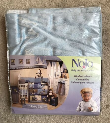 """NoJo  AHOY MATE  Window Valance- Blue/Brown- Fits Window 36""""x48""""  NEW"""